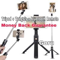 Tripod Tongsis remote tongkat narsis iphone hp holder foto bluetooth