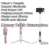 Tripod Tongsis Remote Shutter Bluetooth Panjang Lampu Led Wireless HP