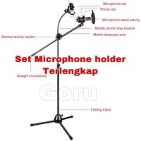 Tripod Mic Microphone Stand Holder arm stand Mik vlog rekaman phone hp