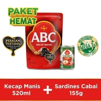 Bundling ABC Kecap Manis 520ml & Sarden Saus Cabai 155g