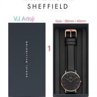 Vj arloji jam tangan pria/wanita classic sheffield leather strap