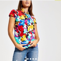 """Blouse Merk Inggris """"River Island"""" Floral With Tie Neck UK Size 12"""