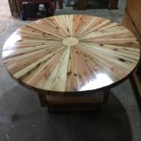 Meja kayu jati belanda 3d minimalis