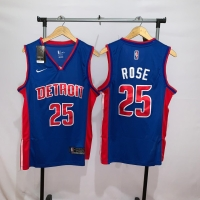Jersey Basket Swingman NBA Detroit Pistons Derrick Rose biru away