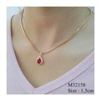 Kalung Set Liontin Lapis Emas Permata Zirconis Batu Merah Cantik Missi