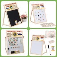 Papan Tulis Magnet White Black Board 2 Sisi 3in1 Edukasi Anak Pintar