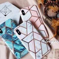 Trapeze case iphone 6 6S 6+ 7 8 plus X XR XS MAX marble glossy casing
