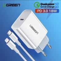 PD Ugreen Original 18w + USB Lightning to type C iPhone 8 8+ X XS 11