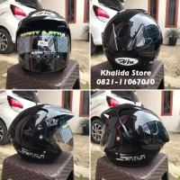 Helm Half Face Hiu Saga Black Solid All Size