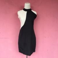 midi dress hitam putih bodycon twiscone