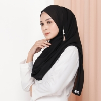 Hijab Ellysha ROMANSA LUXURY BARBIE SHAWL BLACK