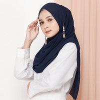 Hijab Ellysha ROMANSA LUXURY BARBIE SHAWL NAVY
