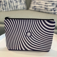 Textured Pouch in navy blue stripes