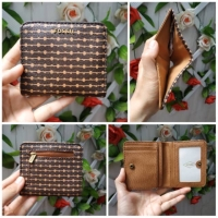 Dompet fossil Auth brown motif