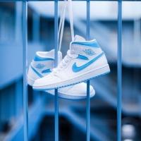 Nike Air Jordan Mid 1 White & Dark Powder Blue