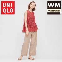 UNIQLO Women Blus Sifon Wanita Joy Of Print Tanpa Lengan Red