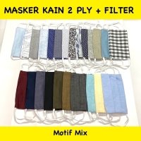 Masker kain 2ply / 2 lapis + di isi filter dewasa motif & polos random