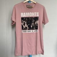 Kaos Vintage Pria Merk Zara RAMONES Warna Pink