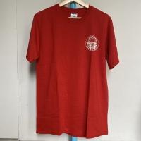 Kaos Vintage Pria LUCAS COUNTY AUDITOR Merk Jerzees Warna Merah