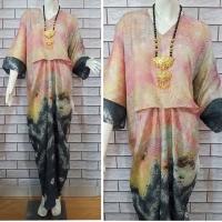 Kaftan Raya Jumputan (rainbow, baby pink dan gray)