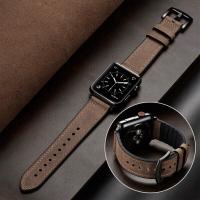 strap iwatch apple watch 42mm 44mm series 4 kulit Grey PREMIUM LEATHER - Cokelat, 38 40mm