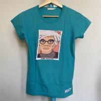 Kaos Vintage Wanita ANDY WARHOL Warna Turquoise