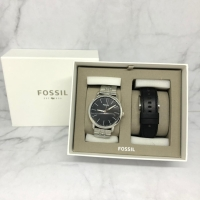 Fossil Luther Three Hand Interchangeable Strap Gift Set sz 4.4CM Black