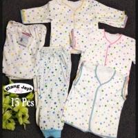 15pcs Paket Baju Bayi Baru Lahir Polkadot