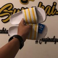 Sendal Adidas Adilette White Stripe Yellow