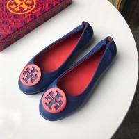 Sepatu Tory Burch Original Minnie Travel Flat Shoes Seablue