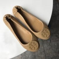 Sepatu Tory Burch Original Minnie Travel Flat Shoes Cream
