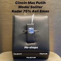 Cincin Mas Putih Model Soliter Kadar 75% Asli Emas Y.4L