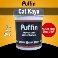 Cat Vernis Puffin Woodstain Waterbased 4L cat kayu vernis kayu clear