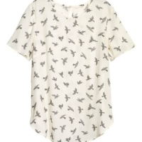 Atasan Blouse White Bird Polyster Oneck H&M