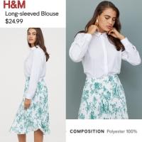 Kemeja Putih Polos Tangan Panjang Basic Collar Blouse H & M Top