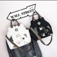 Tas Kanvas Canvas Bag Starbucks Sling Bag Tote Bag Hitam Putih - Putih