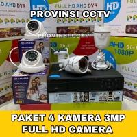 PAKET CCTV 8 CHANNEL 4 KAMERA FULL HD 3MP KOMPLIT 1080P 500GB