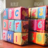 SET 9 PCS BABY CUBE rattle soft book toys mainan edukasi kubus teether