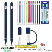 APPLE PENCIL 1 TOUCH PEN STYLUS COVER CASE CASING SILICONE SOFT 4 IN 1