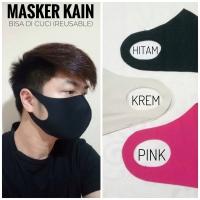 masker kain scuba unisex 3 warna hitam krem pink masker cuci reusable