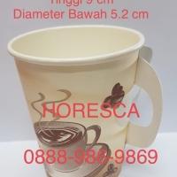 Hot Paper Cup Size 9 Oz Coffee Plus Handle Gelas Kertas Kopi @ 50 Pcs