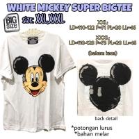 White Mickey Super Bigtee XXL XXXL Kaos Wanita santai rumah jumbo