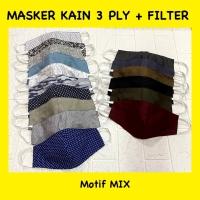 Masker 3ply / 3 lapis kain bisa di isi filter dewasa motif random