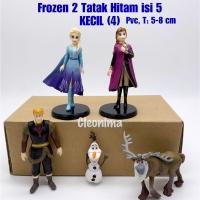 Figurin/Topper kue/Mainan Anak FROZEN 2 TATAK HITAM ISI 5 UKURAN KECIL