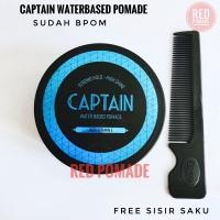 CAPTAIN POMADE WATERBASED STRONG HOLD 3.5 OZ 100 GRAM FREE SISIR SAKU