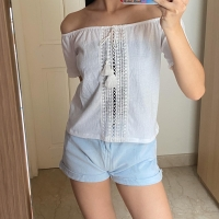H&M white Sabrina top, size S