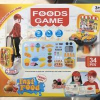 Mainan Anak - Foods Game 4 in 1 Fast Food Play Set Koper Trolley