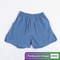 Celana Pendek Santai Boxer Unisex Biru Premium Quality