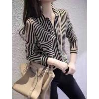 Stripe top shirt cewe wanita kemeja blouse garis hitam kantor office