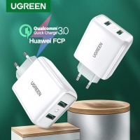 Ugreen charger QC3.0 dual port with Total 36Watt WHITE-70163